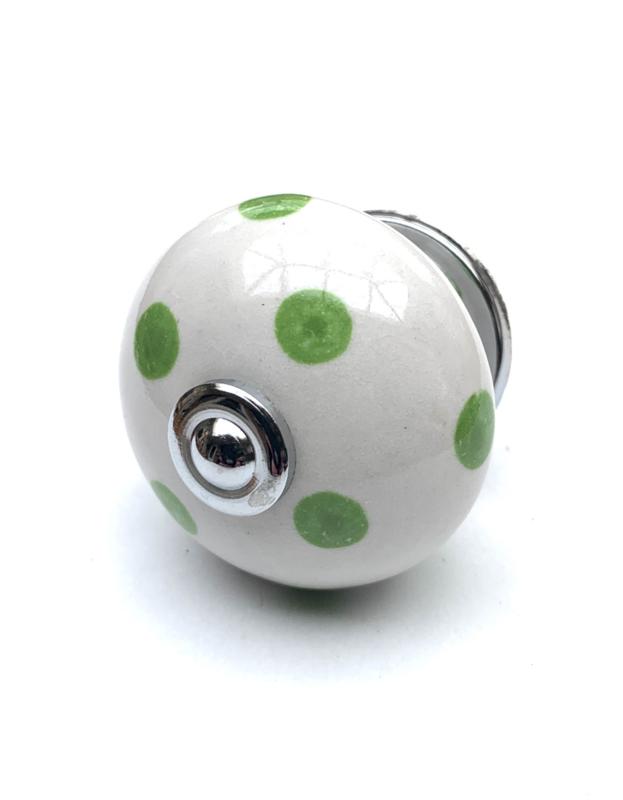 Porseleinen kastknop Wit met groene stippen