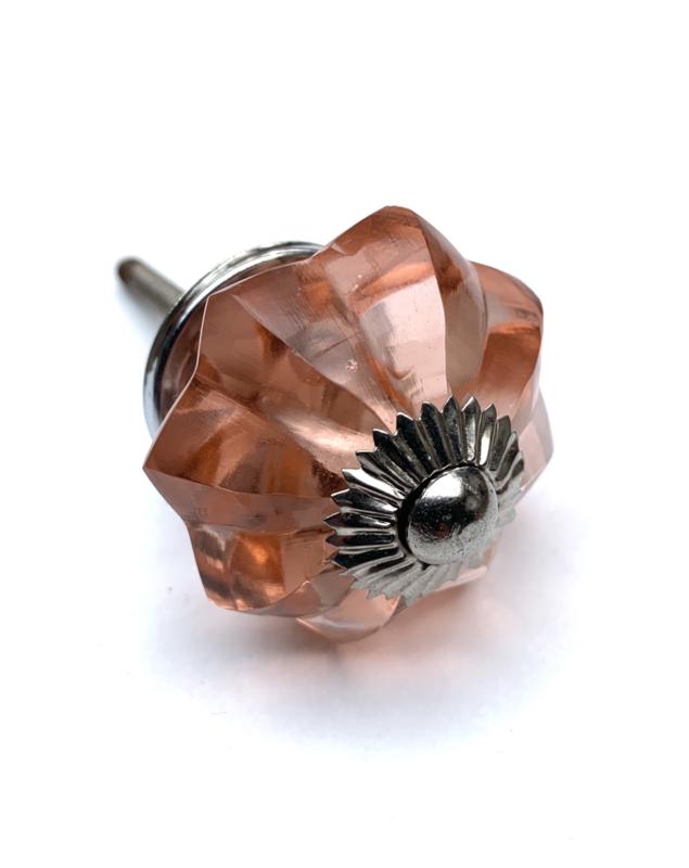 Glazen bloem kastknop oud roze
