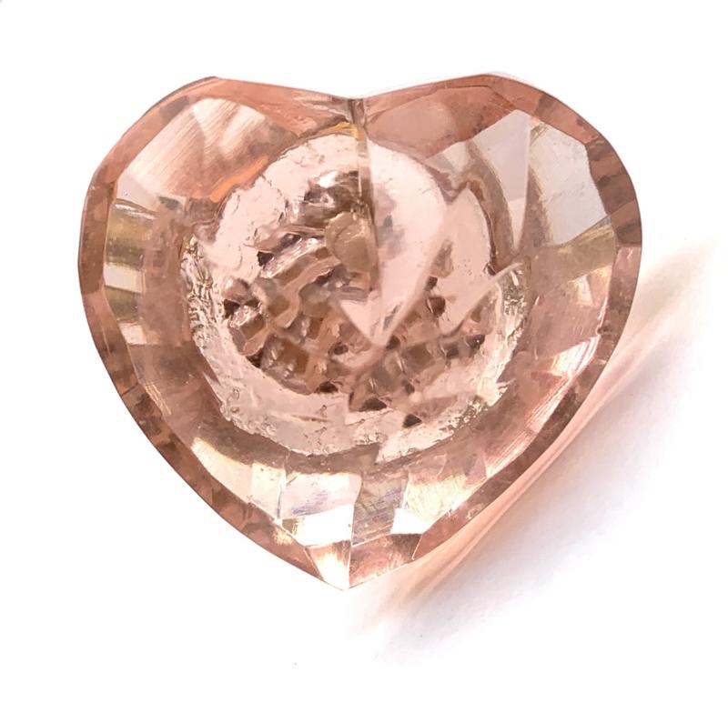 Glazen hart kastknop roze