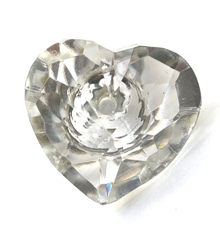 Glazen hart kastknop
