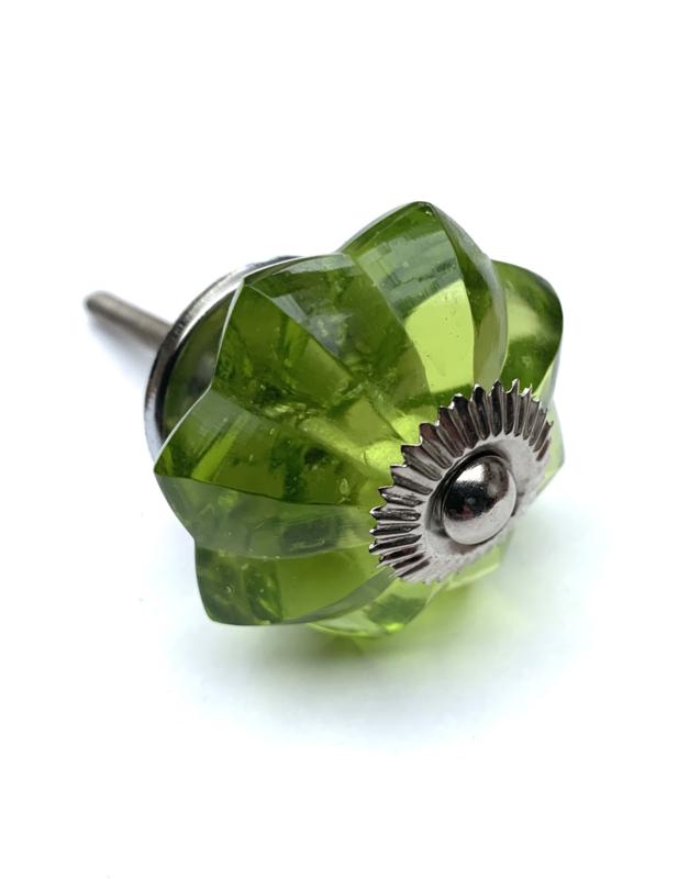 Glazen kastknop Groen