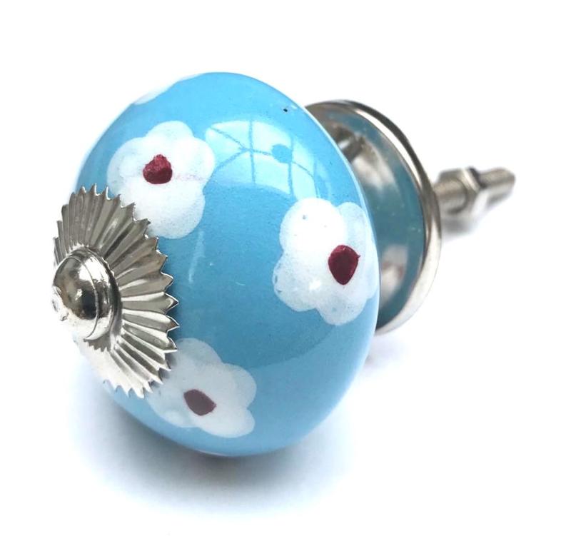 Kastknop Blauw met witte bloemetjes