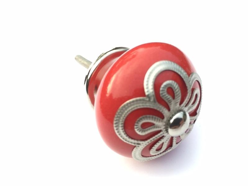 292 Porzellan Möbelknopf Rot