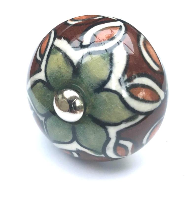 Kastknop 1001 nacht, bruin met olijfgroen kastknop