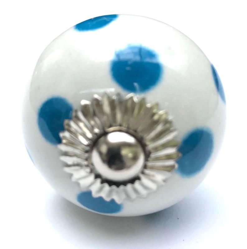 Porseleinen kastknop Wit met Blauwe Stippen
