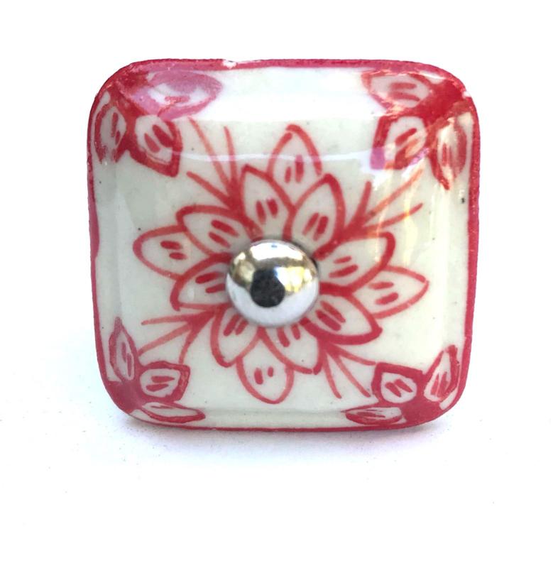 Deurknoppen kastknop vierkant rood