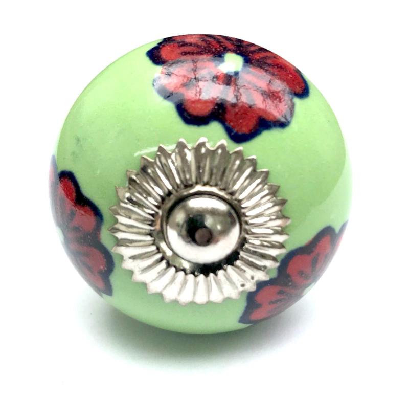 Groene porseleinen deurknoppen, kastknoppen