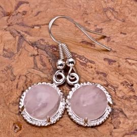 925 sterling zilver Rozenkwarts oorbellen 3