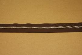 Rits YKK 5mm donker bruin/nikkel