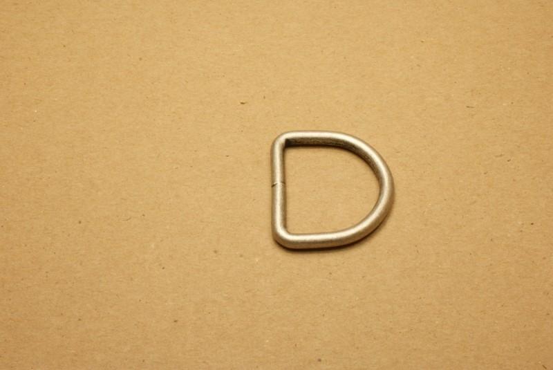 D-ring gelast oud zilver 30mm