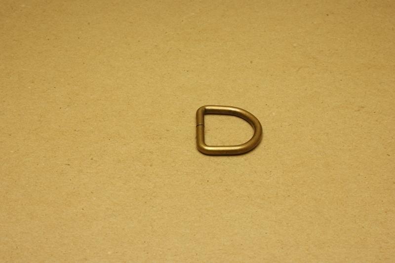 D-ring ongelast oud goud 25mm