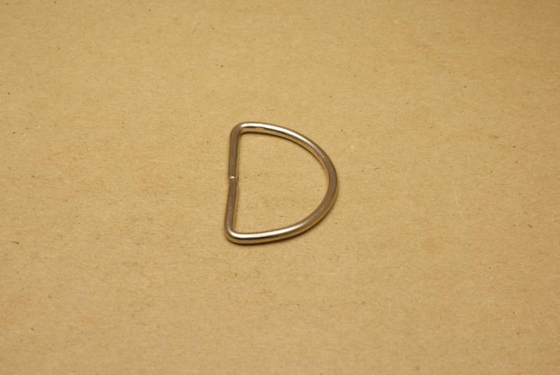 D-ring ongelast nikkel 40mm