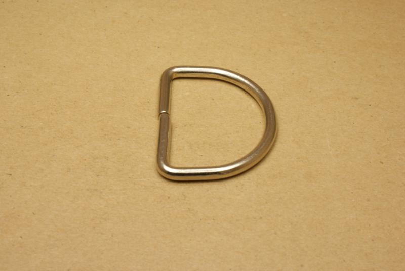 D-ring ongelast nikkel 50mm