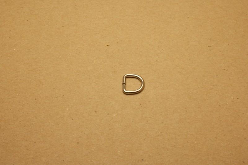 D-ring ongelast nikkel 10mm