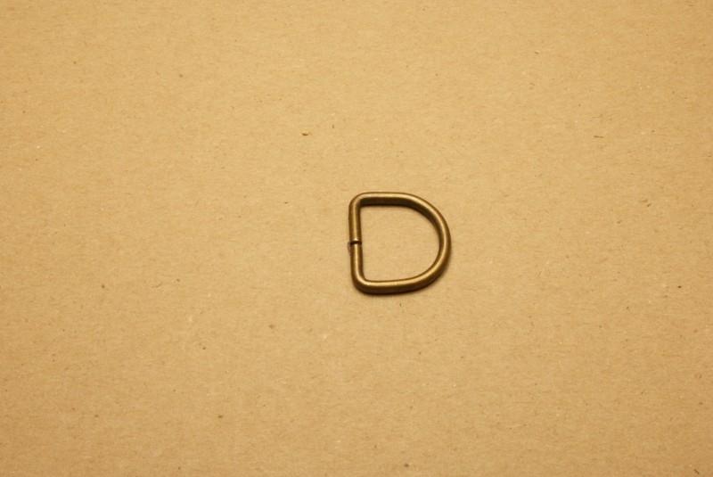 D-ring ongelast oud goud 20mm