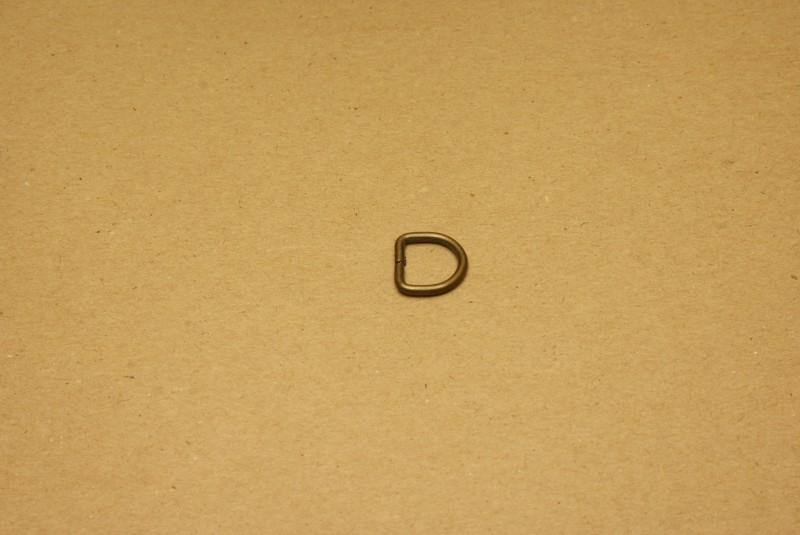 D-ring ongelast oud goud 13mm
