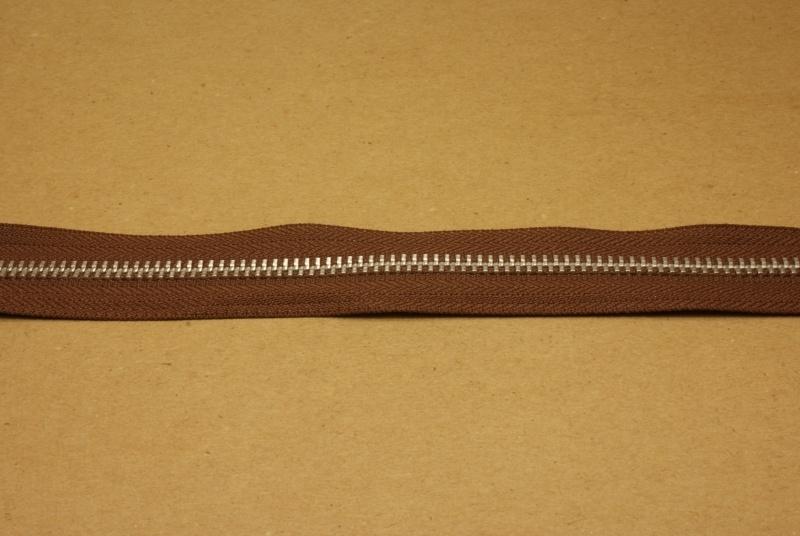 Rits YKK 5mm bruin/nikkel