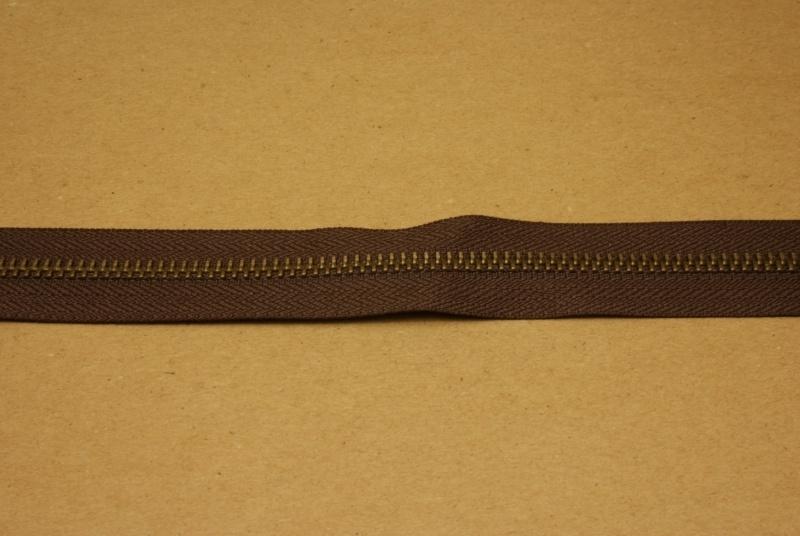 Rits YKK 5mm donker bruin/oud goud