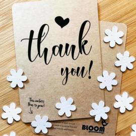 Ansichtkaart met plantbare confetti
