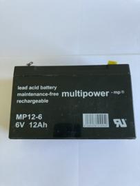 accu 6 volt 12 amp MP12-6 onderhoudsvrij