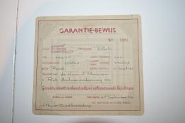 Puch 250F garantie/aankoopbewijs  1september 1952