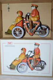 Blik Speelgoed Motor met dame voor op driewieler