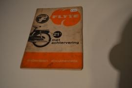 Flyte bromfiets met achtervering  onderdelenboekje