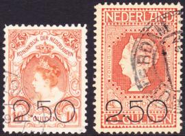 NVPH  104-105 Opruimingsuitgiftes van de 80 en 101 gebruikt Cataloguswaarde: 225,00