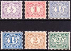 NVPH  50-55 Cijferzegels Postfris Cataloguswaarde 75.00