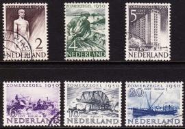 NVPH  550-555 Zomerzegels 1950 Gebruikt  CW 35.00  E-2159