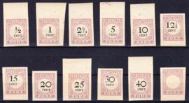 Suriname 12 Proeven Portzegels waarbij zonder waarde indruk (lees)