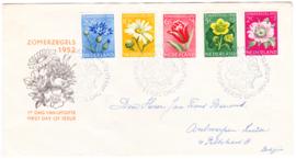 FDC E9 Zomerzegels 1952 Beschreven met dichte klep