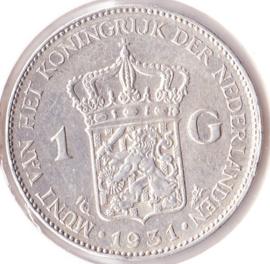 Nederland 1 gulden Zilver 1931 Koningin Wilhelmina F+