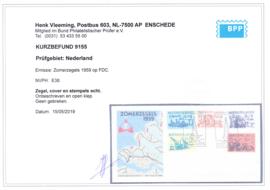 FDC E38  ''Zomerzegels 1959'' ONBESCHREVEN met OPEN klep