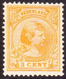 NVPH   34 Wilhelmina Hangend haar  Ongebruikt  cataloguswaarde 15.00