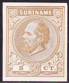 Suriname Proef 2d van de 3 Ct. Willem III zoals uitgegeven zonder gom