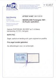 Port P42 ''de Ruyter''  POSTFRIS met Attest H. VLeeming ZELDZAAM