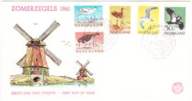 FDC E47A  Met NVPH EMBLEEM ''Zomerzegels 1961'' ONBESCHREVEN met OPEN klep