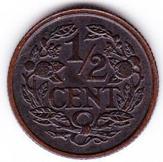 Halve cent 1928 Koningin Wilhelmina   (Pracht)