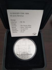 10 Gulden 1994 ''50 jaar Benelux'' tientje Zilver  (Proof)