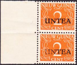 Plaatfout Ned. Nieuw Guinea 2 PM1 op UNTEA 2 Postfris in paar