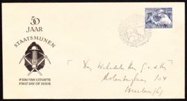 FDC E8 Mijnwerker 1952 Beschreven met open klep