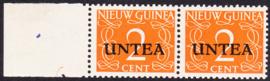 Ned. Nieuw Guinea / UNTEA  Opdrukafwijking UNafw PM5  op de 2 CT Postfris