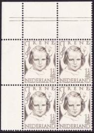 Plaatfout   454  PM1  Postfris   in blok van 4 Cataloguswaarde 12,00
