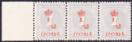 Plaatfout Suriname 16 PM1  op NR 60 in strip van 3 Postfris