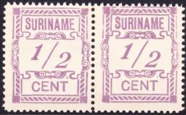 Plaatfout Suriname 65 P1  2x in paar, groot en klein Postfris
