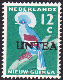 Ned. Nieuw Guinea / UNTEA  Opdrukafwijking UNafw PM2   op de 12 CT Gestempeld