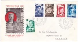 FDC E6 Kinderpostzegels 1951  Getypt met dichte klep