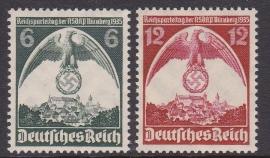 Mi 586-587 Reichsparteitag Nurnberg Postfris Cataloguswaarde: 20,00