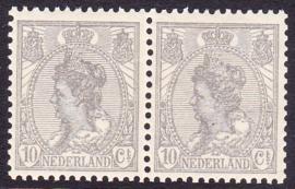 NVPH  81 Wilhelmina wijde arcering in paar Postfris Cataloguswaarde 180.00